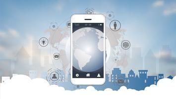 Slimme telefoonscherm met globale netwerkverbindingsachtergrond.