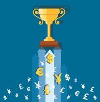 de trofee op geldpictogrammen, bedrijfsconceptenillustratie