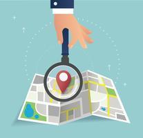 hand met het vergrootglas en pin locatiepictogram en kaart vector, het concept van reizen