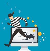 bedrijfsconceptenillustratie van de binaire gegevens van een hakker en netwerkbeveiligingstermijnen