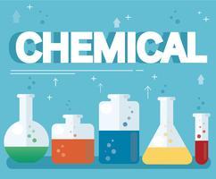 chemische tekst en kleurrijk laboratorium dat met een duidelijke vloeibare en blauwe achtergrond wordt gevuld
