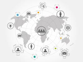 Wereldwijde netwerkverbinding met wereldkaartachtergrond.