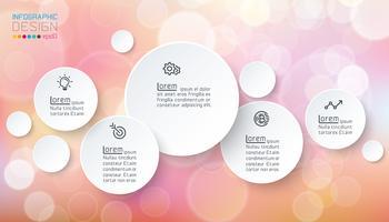 Infographics van cirkels met bellenzeep op roze achtergrond.