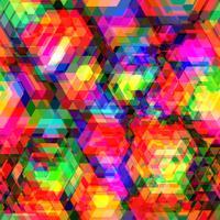 Kleurrijke zeshoek veelhoek en naadloze achtergrond. vector