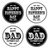 gelukkige vaders dag sierlijke typografie zwarte witte cirkels vector