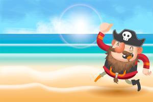 schattige piraten cartoon achtergrond vector