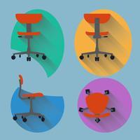 Vierrichtingsstoel met plat ontwerp vector