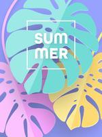 Zomer Pastel Monstera laat papier kunst Poster vector