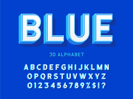 Stijlvol 3D Vet Blauw Alfabet vector