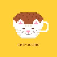 pixel art koffie cappuccino