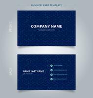 Abstract de kubuspatroon van de bedrijfsnaamkaart op donkerblauwe achtergrond. Digitale geometrische lijnen vierkant gaas. Branding en identiteit grafisch ontwerp. vector