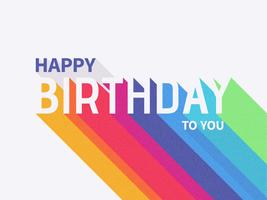Gelukkige verjaardag Long Shadow typografie vector