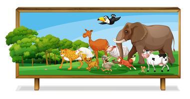 Dieren in de jungle aan boord vector