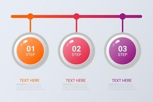 Drie stappen infographics. Vector bedrijfsmalplaatje voor presentatie en opleiding.