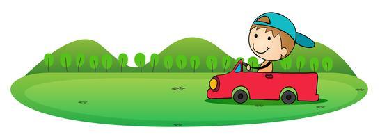 jongen en auto