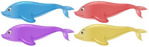 Vier kleurrijke dolfijnen