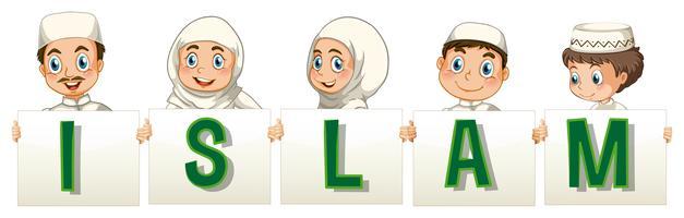 Moslimmensen die islamkaart houden