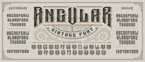 Hoekig displaylettertype met schiftwoorden en slagschaduw in oude stijl. vector