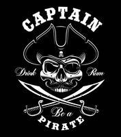 Vintage piraat schedel. vector