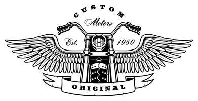 Uitstekende motorfiets met vleugels op witte achtergrond