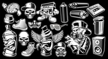 Set van zwart-witte graffiti stickers.