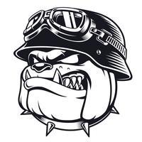 Bulldogfietser met helm vector