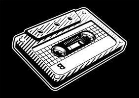 Vintage audiocassette vector
