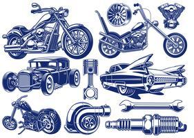 Zwart-wit illustraties van vervoersthema