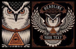 Vectorillustratie van Owl op de donkere achtergrond.