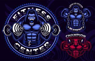 Set van gekleurde sportmascottes voor gym. vector