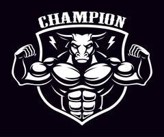Zwart en wit embleem van een stier bodybuilder.
