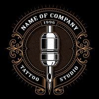 Vintage tattoo studio emblem_1 (voor donkere achtergrond) vector