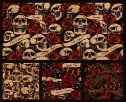 Set van naadloze tattoo achtergronden met schedels
