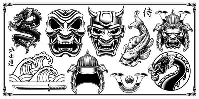samurai clipart. vector