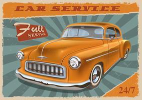 Vintage poster met retro auto.