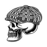Zwart-wit afbeelding van een pestkop schedel in cap