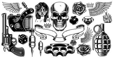 Set van tattoo kunst vector