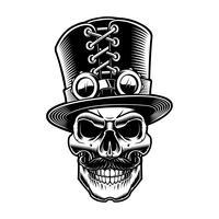Zwart-wit afbeelding van een steampunk skul.