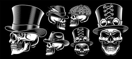Set van zwarte en witte vector schedels