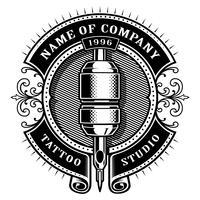 Vintage tattoo studio emblem_1 (voor witte achtergrond) vector