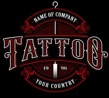 Vintage tattoo studio emblem_4 (voor donkere achtergrond) vector