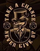 Zwart-wit afbeelding van een skelet in hoed