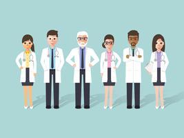 Groep artsen, medisch personeel. vector