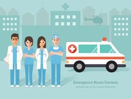 Groep noodsituatieruimte artsen en verpleegsters, medisch personeel. vector