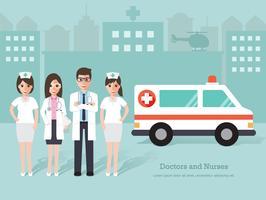 Groep artsen en verpleegsters, medisch personeel.