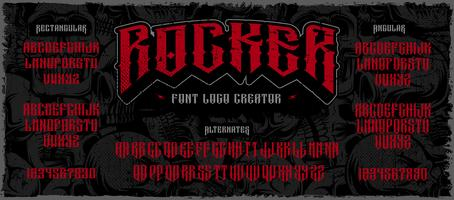 Rocker display lettertype logo maker op de donkere achtergrond