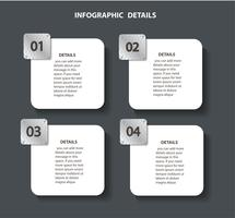 plaatmetaal info grafische sjabloon met 4 opties. Kan worden gebruikt voor web, diagram, grafiek, presentatie, grafiek, rapport, stap voor stap infographics