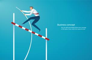 zakenman die met polsstokspringen springt om het doel te bereiken