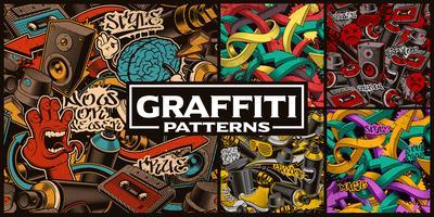 Set van naadloze patronen met graffiti kunst