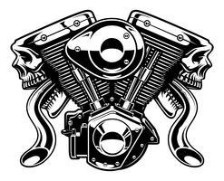 Monstermotor op witte achtergrond vector